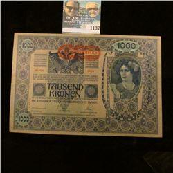 1137 _ 1902 One Thousand Kronen Austrian Banknote, Choice AU.