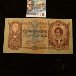 1141 _ 1932 Hungarian Bank note 1823 1849 Commemorative 50 Pengo, EF.