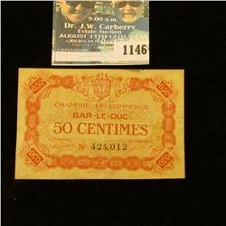 "1146 _ 1917 France 50 Centimes ""Bar-Le-Duc"" Banknote."