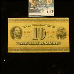 1147 _ 1936 Denmark National Bank 10 Kroner Banknote, VF+.