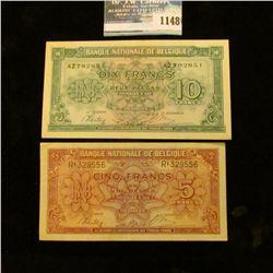 1148 _ Pair of 1945 Belgium 5 & 10 Frank Banknotes. Choice AU.