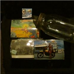 1157 _ Mason Glass Jar with special spout lid; Daytona Beach Post Card with beauty with Motorcycle;