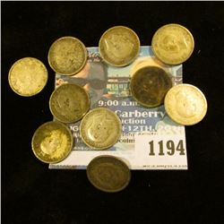 1194 _ Set of Great Britain Silver Three Pence Coins: 1905, 13, 18, 20, 38, 39, 41, 42, 43, & 44. (1