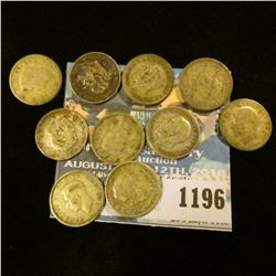 1196 _ Set of Great Britain Silver Three Pence Coins: 1902, 11, 12, 15, 25, 26, 38, 39, 41, 42, & 44