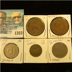 1203 _ Israel Half Sheqel; Jordan 10 Fills; 1975 Jamaica 10c; 1371AH Morocco 10 Francs; & 1954 Mexic