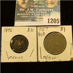 1205 _ 1896 Mexico Silver 10 Centavos & 1987 Mexico 50 Centavos.