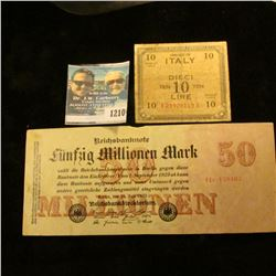 1210 _ German 1923 50 Million Marks & 1944 Ilaly 10 Lira Notes.
