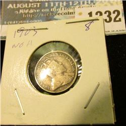 1232 _ 1903 Canada 5 Cent Silver.