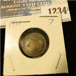 1234 _ 1911 Canada 5 Cent Silver.