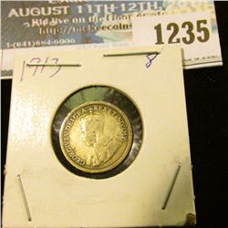 1235 _ 1913 Canada 5 Cent Silver.