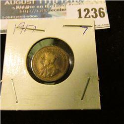 1236 _ 1917 Canada 5 Cent Silver.