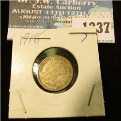 1237 _ 1918 Canada 5 Cent Silver.