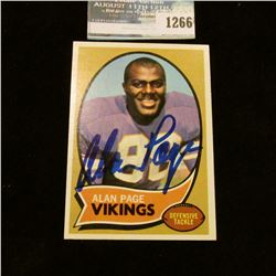 1266 _ Autographed Baseball Card of Alan Page Defensive Tackle for the Minnesota Vikings.