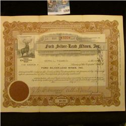 "1269 _ 500 Shares of the ""Ford Silver Lead Mines Inc."" Stock Certificate."
