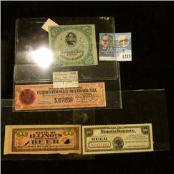 1275 _ Series 1871 25c1/4 th Barre, lIllinois, North Dakota, Wisconsin, Fermented Malt Beverage Tax