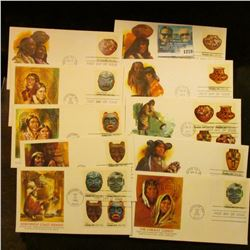 "1278 _ (5) ""Pueblo Art"" (1977) and (5) ""Indian Art"" (1980) First Day Covers"