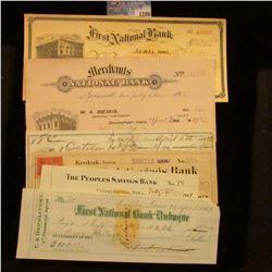1286 _ 1892 Check Grinnell, Iowa, W.A. Bemis Inssurance Co. Davenport, Iowa, 1900 Albia, Iowa, 1887