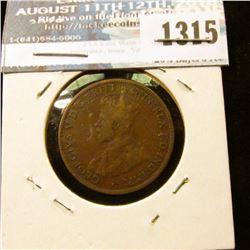 1315 _ 1917-I Australia Half Penny, VF.