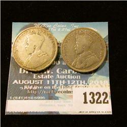1322 _ (2) Canada 1919 Quarters. VG.