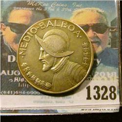 1328 _ 1966 Panama, 400 Fine Silver, 1/2 Balboa.