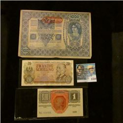 1334 _ 1919 Austria 1000 kronen, 1916 Krone and 1956 20 Schilling Notes VF-Unc.