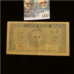 1337 _ ND (1947) Viet Nam, 1 Domg Picturing Ho- chi- Minh. EF Scarce Note.