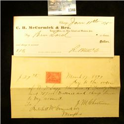 1346 _ 1875 C.H. McCormick $ Bro. Check and 1897 Promisory Note to Pritchett McCormick & Co.