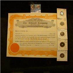 1348 _ The Gilkloid Company 1920's Stock Certificate, 1884 Switzerland 5 Rappen, 1959 East Africa Ce