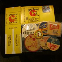1351 _ Dan patch Fine Cut Tobacco Lable, (6) Antique Cork Beer Advertising Coasters and St paul Post