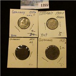 1355 _ 1875 G German 2 Pfennigs, 1950 D, F, 50 Pfennigs & 1937 D 1 Mark In Nice Grades.
