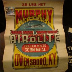 1357 _ Two-Bit Peaberry Blend Coffee Bag, Murphy Grain and Milling Co. Airolite Corn Meal Bag, K & J