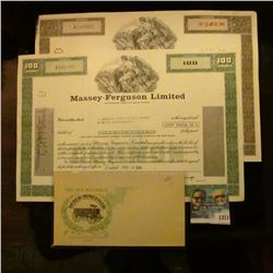1371 _ 2 Different Massey Ferguson Limited Stock Certificates, 100 & 500 Shares and The Old Reliable