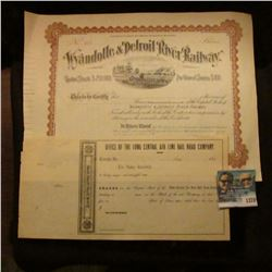 1378 _ Wyandotte & Detroit River Railway Unissued Stock Certificate at $100.00 Per Share and 1850's