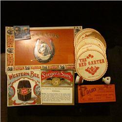 1402 _ Henniger Karamalz, Klosterbrauerei, Porcelin Bottle Stoppers, Red Tips & Western Bee Cigar Bo