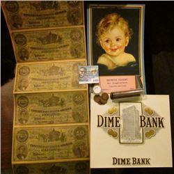 1405 _ 1937 Calander, Brown.s Tavern, Hazleton, Iowa. Uncut Sheet of 6 $10. Confederate fac-simili N