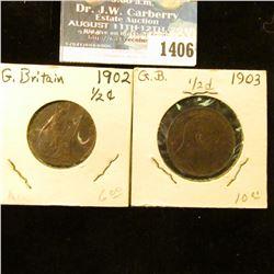 1406 _ 1902 & 1903 Great Britain Half Pennies. EF.