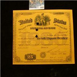 1407 _ 1880 United States Internal Revenue Retail Liquor Tax Stamp.
