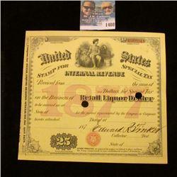 1408 _ 1877 United States Internal Revenue Retail Liquor Tax Stamp.