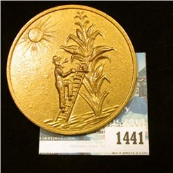 """1441 _ 2 3/8"""" Iowa Corn Medal """"The State Where the Tall Corn Grows/A/Souvenir/From/Iowa""""."""