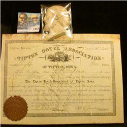 "1443 _ Elderly Gemtleman's Plaster of Paris Bust (chipped); & 1894 Ten Shares Stock Certifcate ""Tipt"