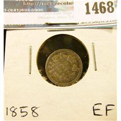 1468 _ 1858 Canada Five Cent Silver, EF.