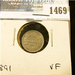 1469 _ 1891 Canada Five Cent Silver, VF.
