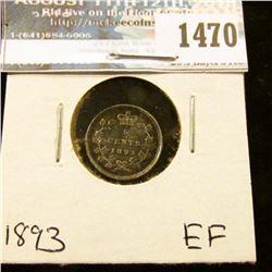 1470 _ 1893 Canada Five Cent Silver, EF.