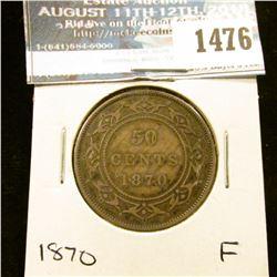 1476 _ 1870 Newfoundland Silver Half Dollar, Fine.