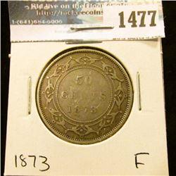 1477 _ 1873 Newfoundland Silver Half Dollar, Fine.
