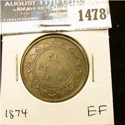 1478 _ 1874 Newfoundland Silver Half Dollar, Extra Fine.