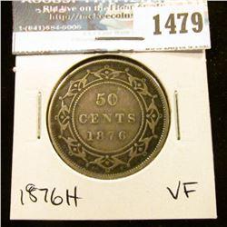 1479 _ 1876H Newfoundland Silver Half Dollar, Very Fine.