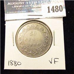 1480 _ 1880 Newfoundland Silver Half Dollar, Very Fine.