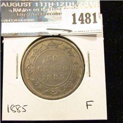 1481 _ 1885 Newfoundland Silver Half Dollar, Fine.