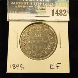 1482 _ 1898 Newfoundland Silver Half Dollar, Extra Fine.